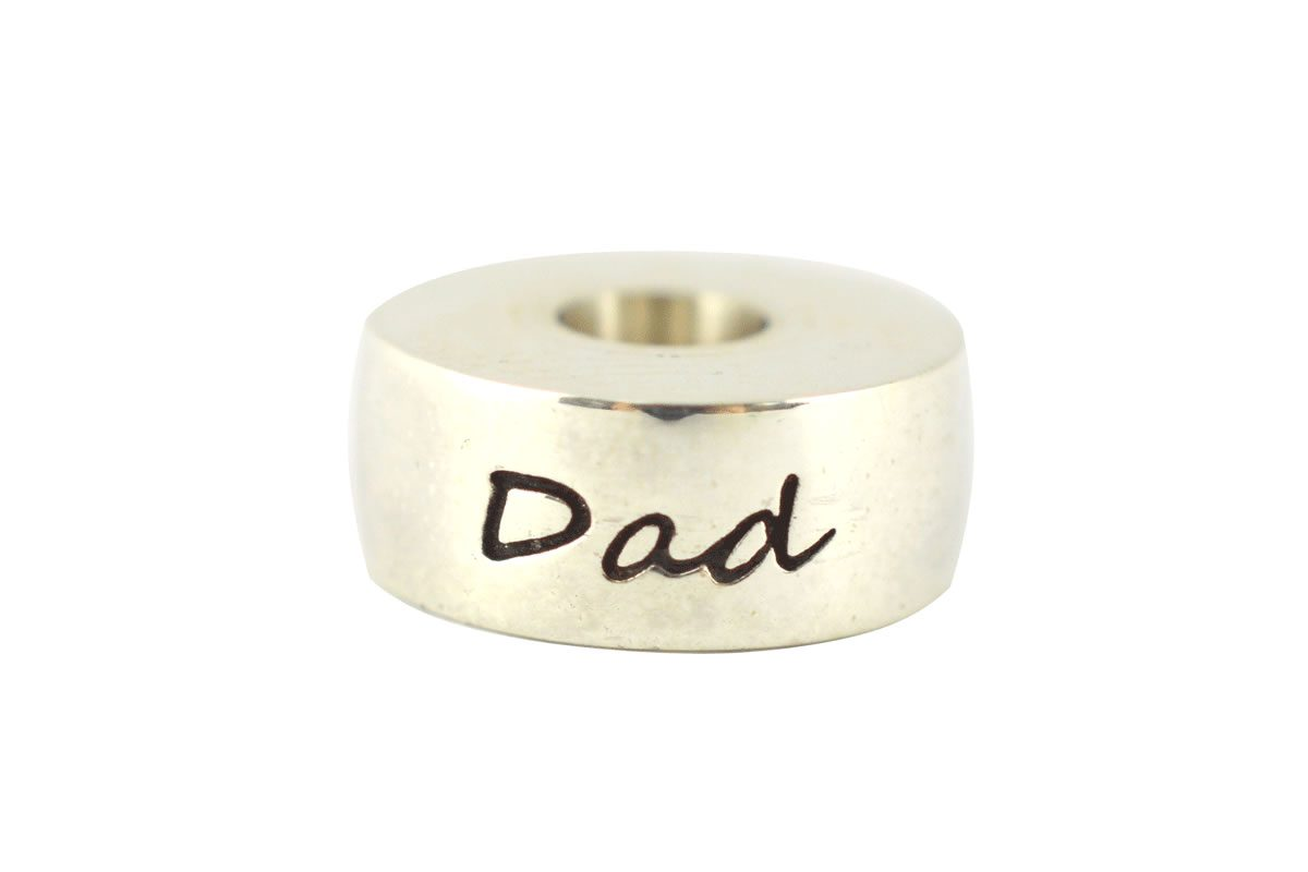 Solid sterling silver round style memento bead engraved Dad