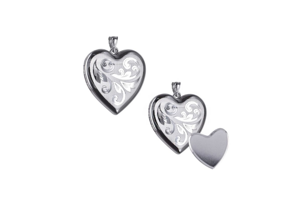 Sterling Silver Engraved Heart Photo or Ashes Locket 24mm