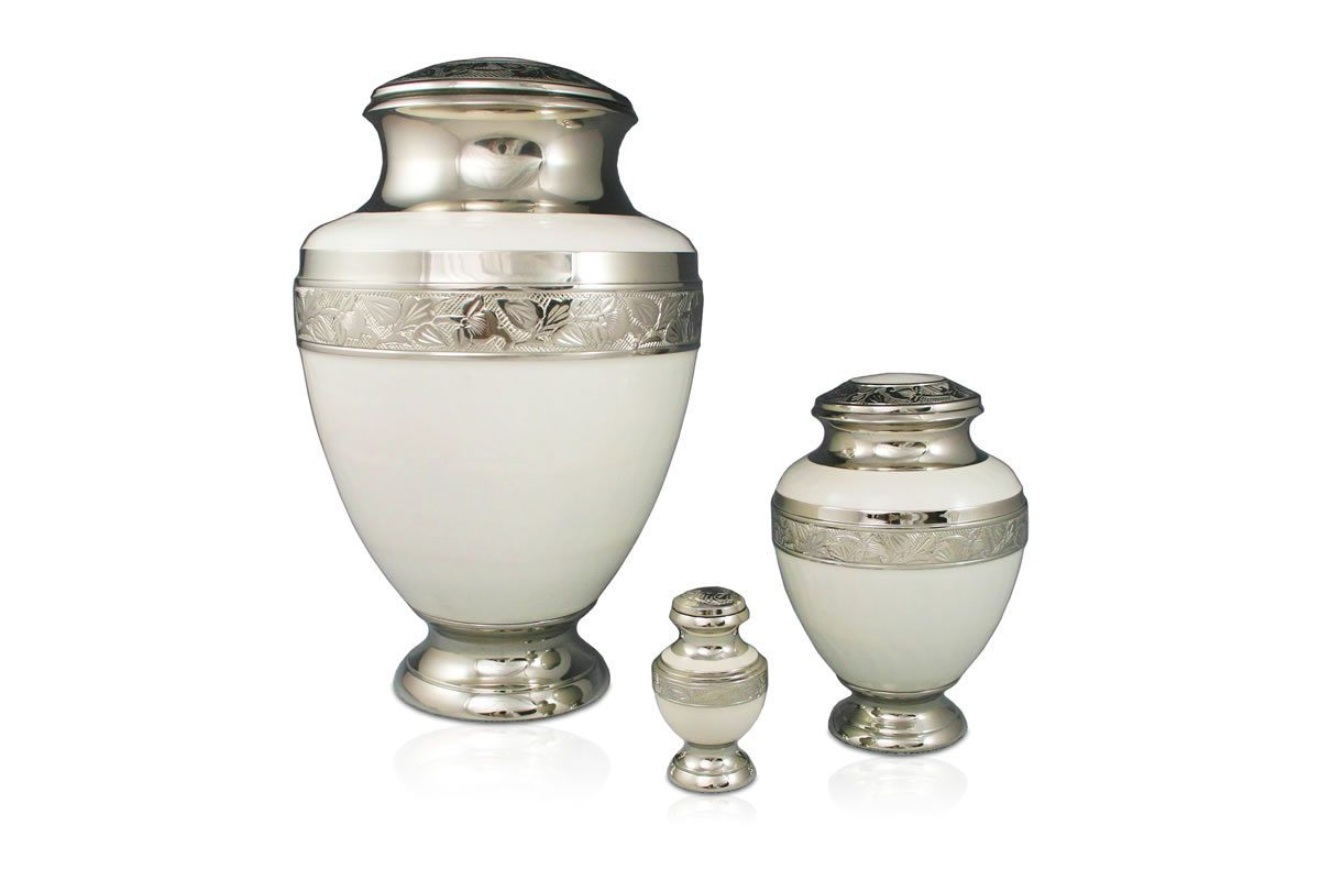 New Age Nickel and White Enamel Urn