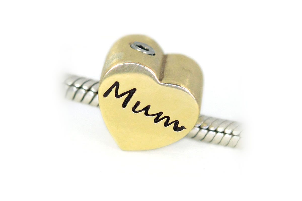 Solid 9ct yellow gold heart shape memento bead engraved Mum