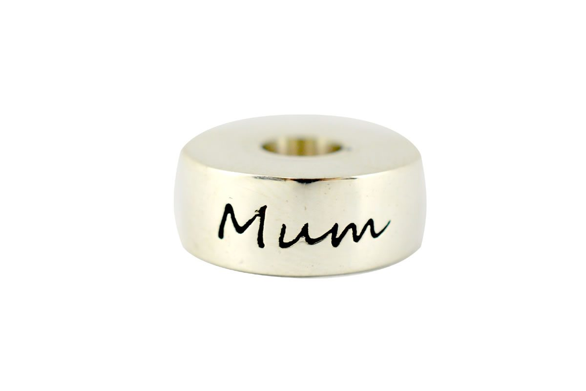 Solid sterling silver round style memento bead engraved Mum
