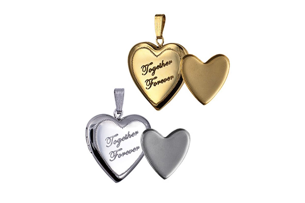 Sterling Silver Together Forever Heart Photo or Ashes Locket 20mm - also available in Gold Filled